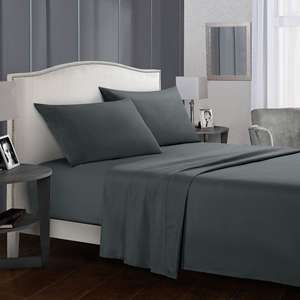 Linens Flat Sheet Fitted Sheet King Size White Bed