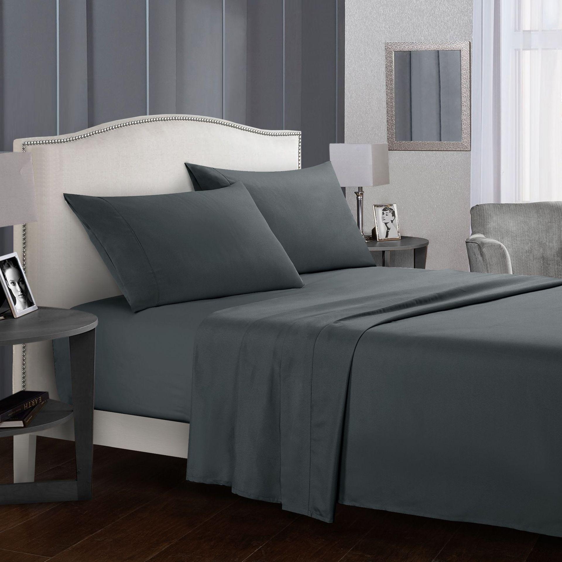 Cama Definir Breve Conjunto de Cama Roupa De Cama Folha Plana + Lençol + Fronha Queen/King Size Cinza Macio e confortável branco cama set70