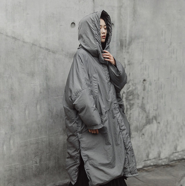 [EAM]  Hooded Cotton-padded Gray Oversize Long Warm Coat Long Sleeve Loose Fit Women Parkas Fashion Autumn Winter 2019 JE02002 27