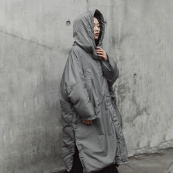 [EAM]  Hooded Cotton-padded Gray Oversize Long Warm Coat Long Sleeve Loose Fit Women Parkas Fashion Autumn Winter 2019 JE02002 3