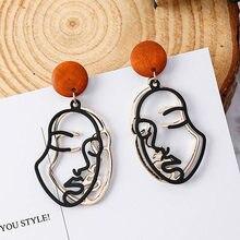 Moda coreana de madeira do vintage redonda dupla camada abstrata rosto humano gota brincos para mulheres festa jóias boucles doreoreilles