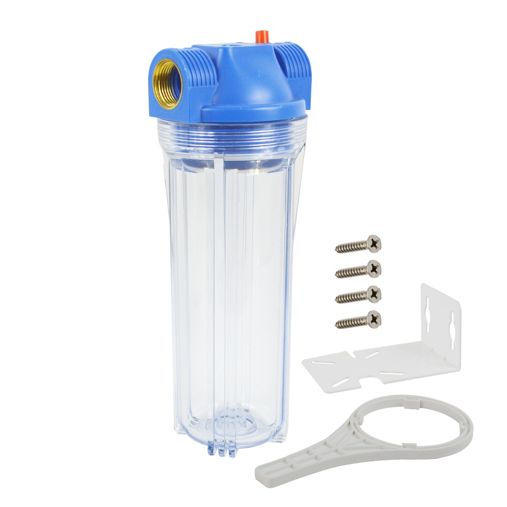 2019 New! Whole House Water Filter Housing,10-Inch x2.5-inch Clear Housing 1-inch Port include Screws, Bracket and Wrench