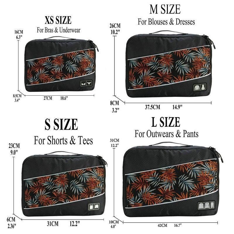 Soperwillton упаковочные кубики, нейлоновая дорожная сумка-Органайзер, Воздухопроницаемая сетчатая дорожная сумка для мужчин и женщин, органайзер для путешествий - Цвет: Black XS-S-M-L