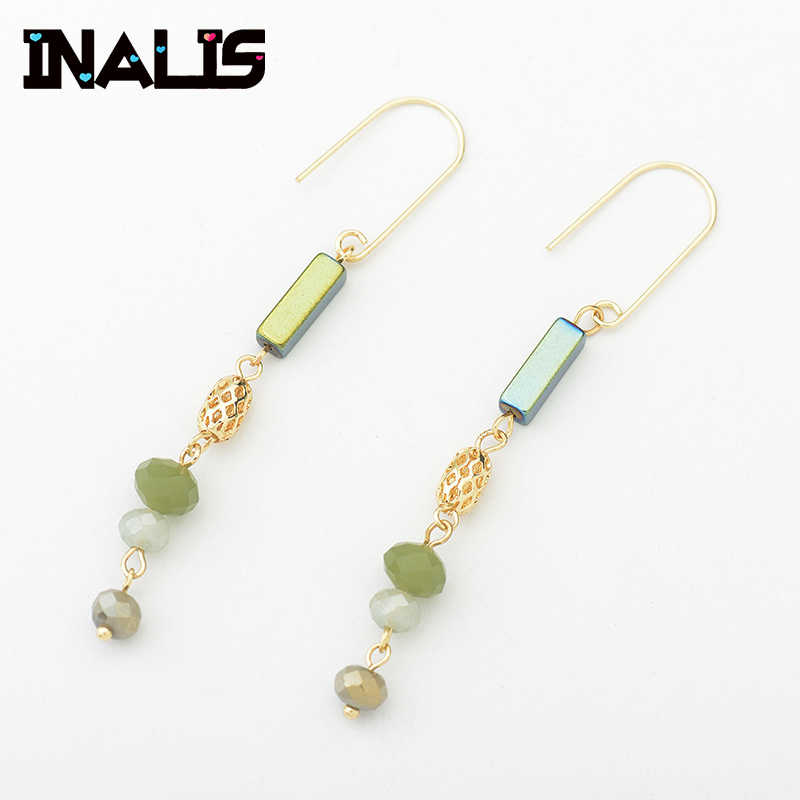 INALIS New Elegant Drop Earrings Yellow Gold Coloe with Green Multi Natural Stone Dangle Ear Hook Fine Jewelry for Women Brincos