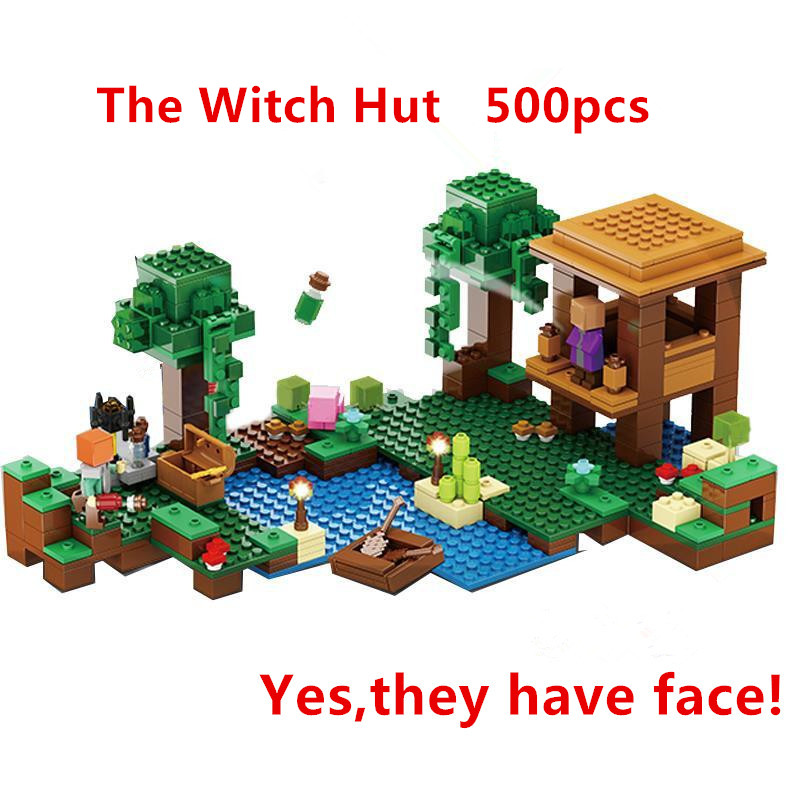 New Lepin 500pcs My World Minecraft The Witch Hut anime action figures Building Blocks Bricks fun Toys For Children gifts 21133 hot toys 10pcs lot generation 1 2 3 juguetes pvc minecraft toys micro world action figure set minecraft keychain anime figures