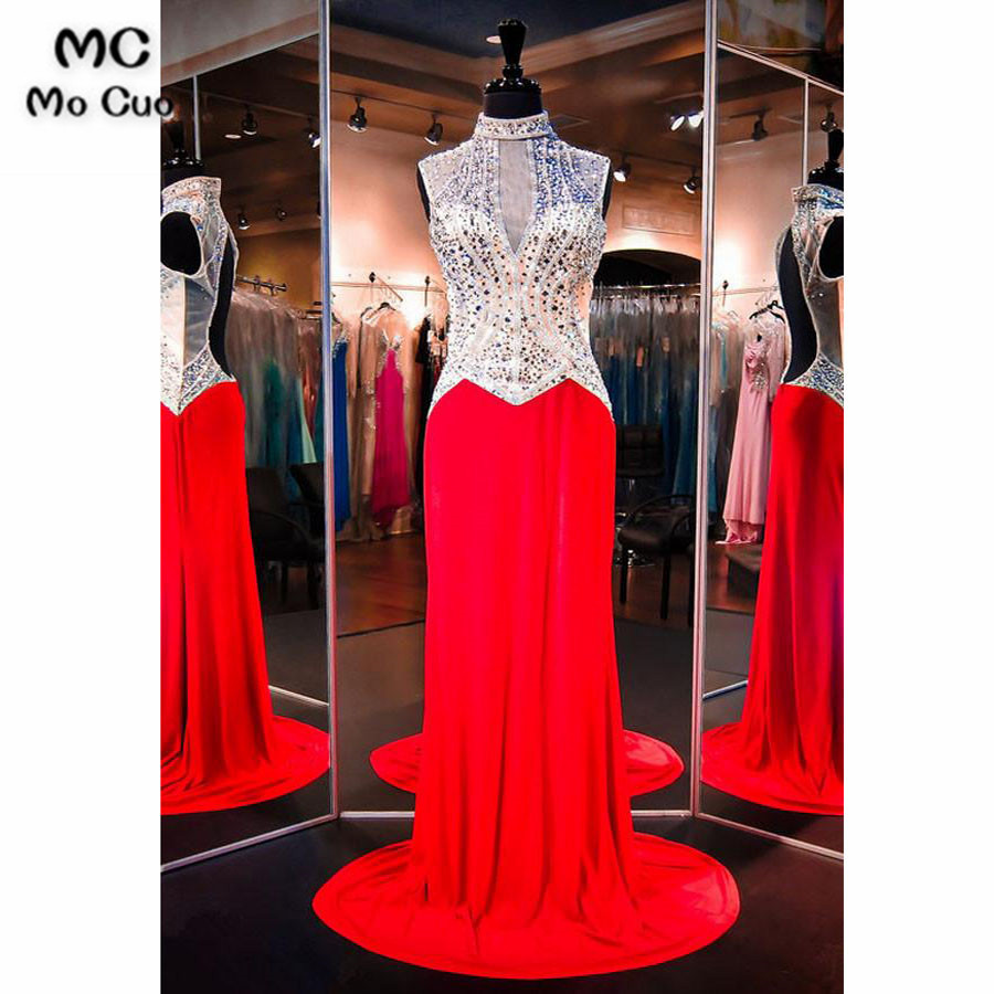 2018 Illusion Mermaid   Prom     dresses   with Crystals Beaded   dress   for graduation Vestidos de fiesta Backless Formal Evening   Dress