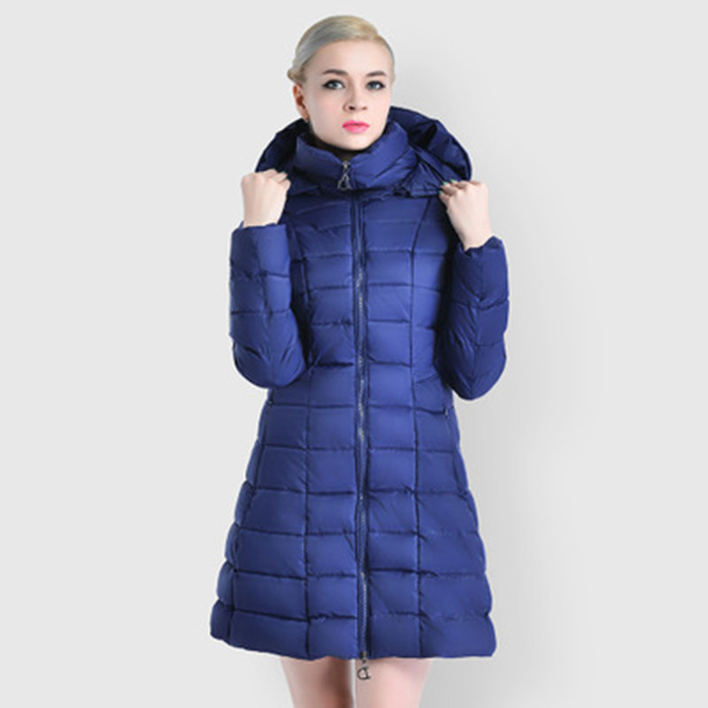 2017 New Fashion Womens Down Cotton Coats with Hooded Double Zipper Long Maternity Jackets with Hooded Grey Slim Wholesale S-3XL winer womens down jackets with hooded zipper bright black thick maternity clothes brand design ladies coats high quality outwear