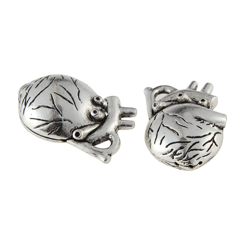 New Arrival 25*37mm Silver Plated Alloy Heart organ Pendant Charms For Jewelry Making DIY Accessories 10pcs