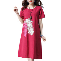 MOSHU Casual Loose Summer Cotton Linen Dress Women Elegant Vintage Dress Female Knee Length Feathers Vestido