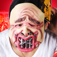 Hollywood SAW Mask Horror Halloween Nails Mouth Adult Size Party Wrapped Head Mask Long Hair Masks