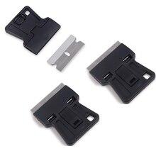 EHDIS 3pcs Auto Razor Scraper With Steel Knife Blade Vinyl Film Car Wrap Squeegee Cutter Window Tint Glue Sticker Remover Tools