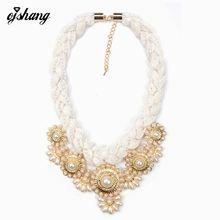 2016ZA Fashion Charm Jewelry Necklaces Pendants White Rope Chain Pearl Flower Choker Collar Chunky Statement Necklace Women