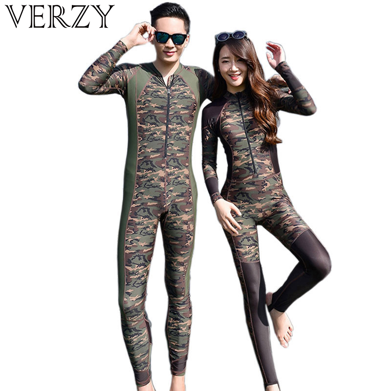 2018 Lovers Camouflage Wetsuit Surfing Diving Couples Swimwear Zipper One piece bathing suit Slim Comfortable Jumpsuit Swimsuit 0 6y brand baby boys swimwear uv 50 sun protection one piece infant boy swimsuit bathing suit beachwear diving surfing costumes