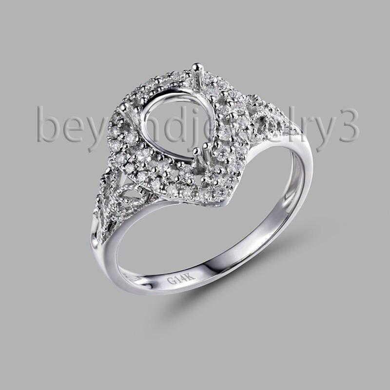 En or blanc 14 K massif Semi monture bague réglages poire coupe 6x8mm 585 or blanc diamant bague de fiançailles à vendre SR0340