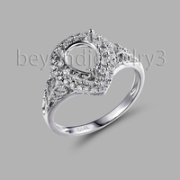In Solid 14K White Gold Semi Mount Ring Settings Pear Cut 6x8mm 585 White Gold Diamond