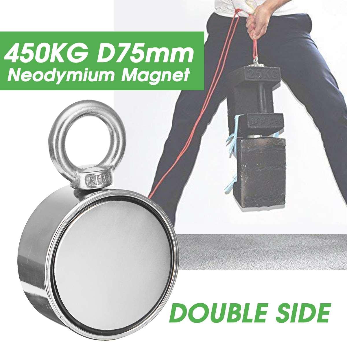 Aimant de récupération de récupération de pêche de néodyme du Double côté 450 kg D75mm pour détecter le trou magnétique puissant d'anneau de trésor en métal