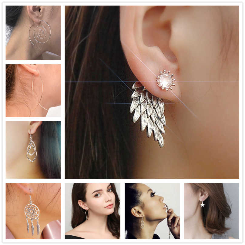 One Direction Jewelry Personality Wing Harpoon Drop Earrings For Women Bijoux Earring 2018 New Wholesale Earing Accessories
