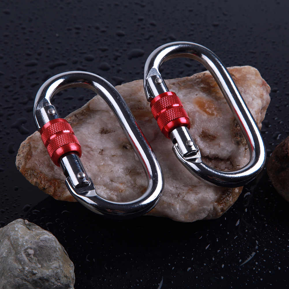 25KN d-образный альпинистские карабины безопасности Пряжка замок инструмент для выживания крюк для йоги складной гамак для кемпинга альпинизма