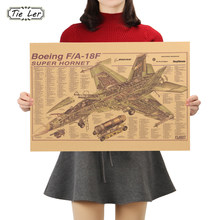 TIE LER Boeing FA18F Hornet Strike Fighter Mechanische Kaart Kraftpapier Poster Decoratie Schilderen 50.5X35cm(China)