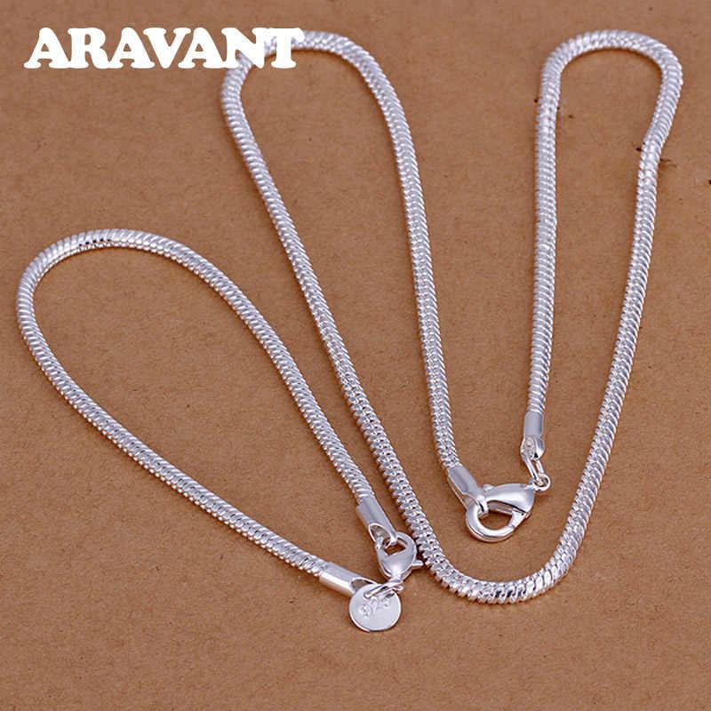 Femmes ensembles de bijoux 925 bijoux en argent Simple 3MM serpent chaînes colliers Bracelets ensemble accessoire