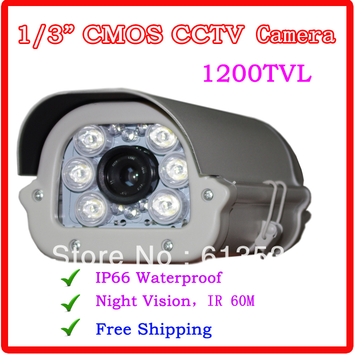 "Фотография 1/3"" 1200TVL CMOS  Outdoor 8pcs White Array  LED Night Vision Indoor / Outdoor CCTV Camera"