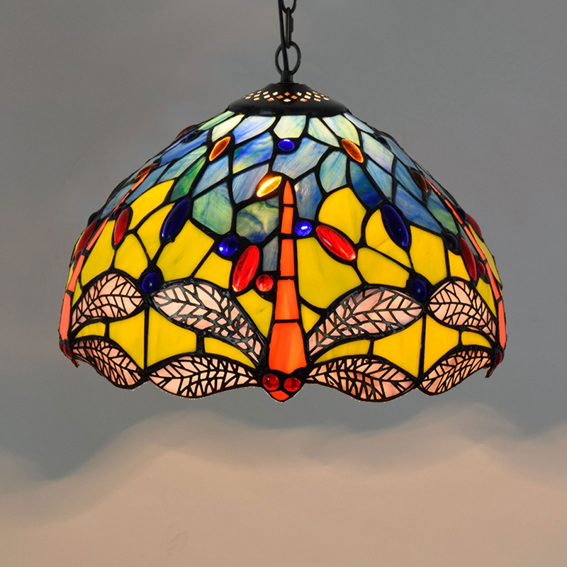 European creative retro rural field yellow bottom Dragonfly art Tiffany color glass  Pendant Lights E27 Aisle balcony LED BarEuropean creative retro rural field yellow bottom Dragonfly art Tiffany color glass  Pendant Lights E27 Aisle balcony LED Bar