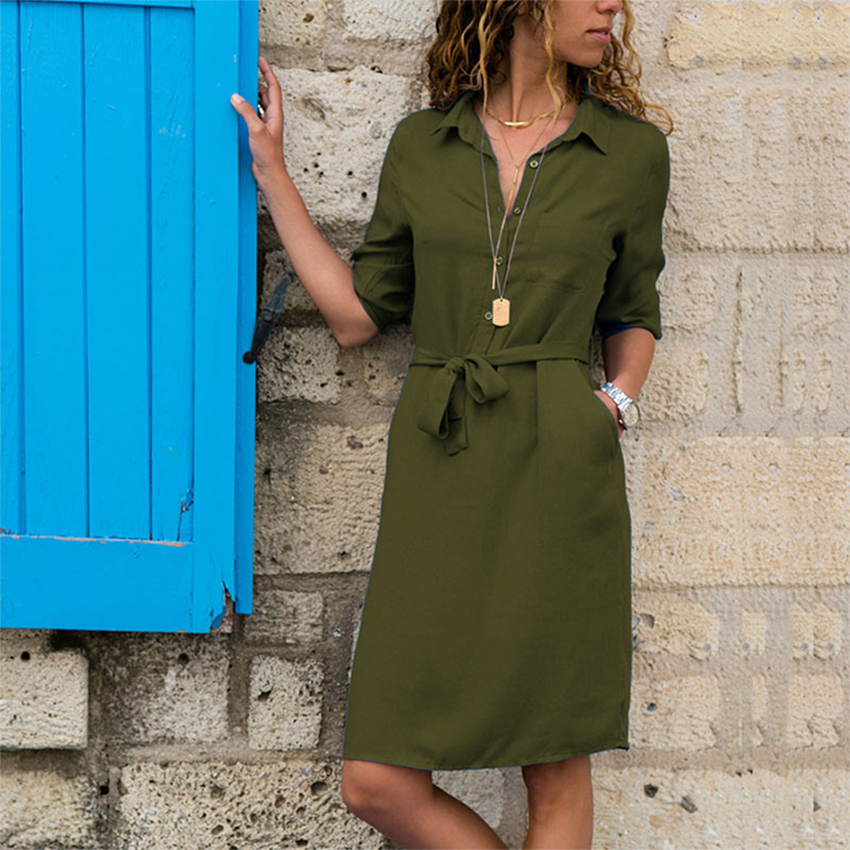 Casual Shirt Dresses Women Summer Sexy A-Line Dress Plus Size Office Dress Buttons Turn-Down 3/4 Sleeve Elegant Dresses Vestidos
