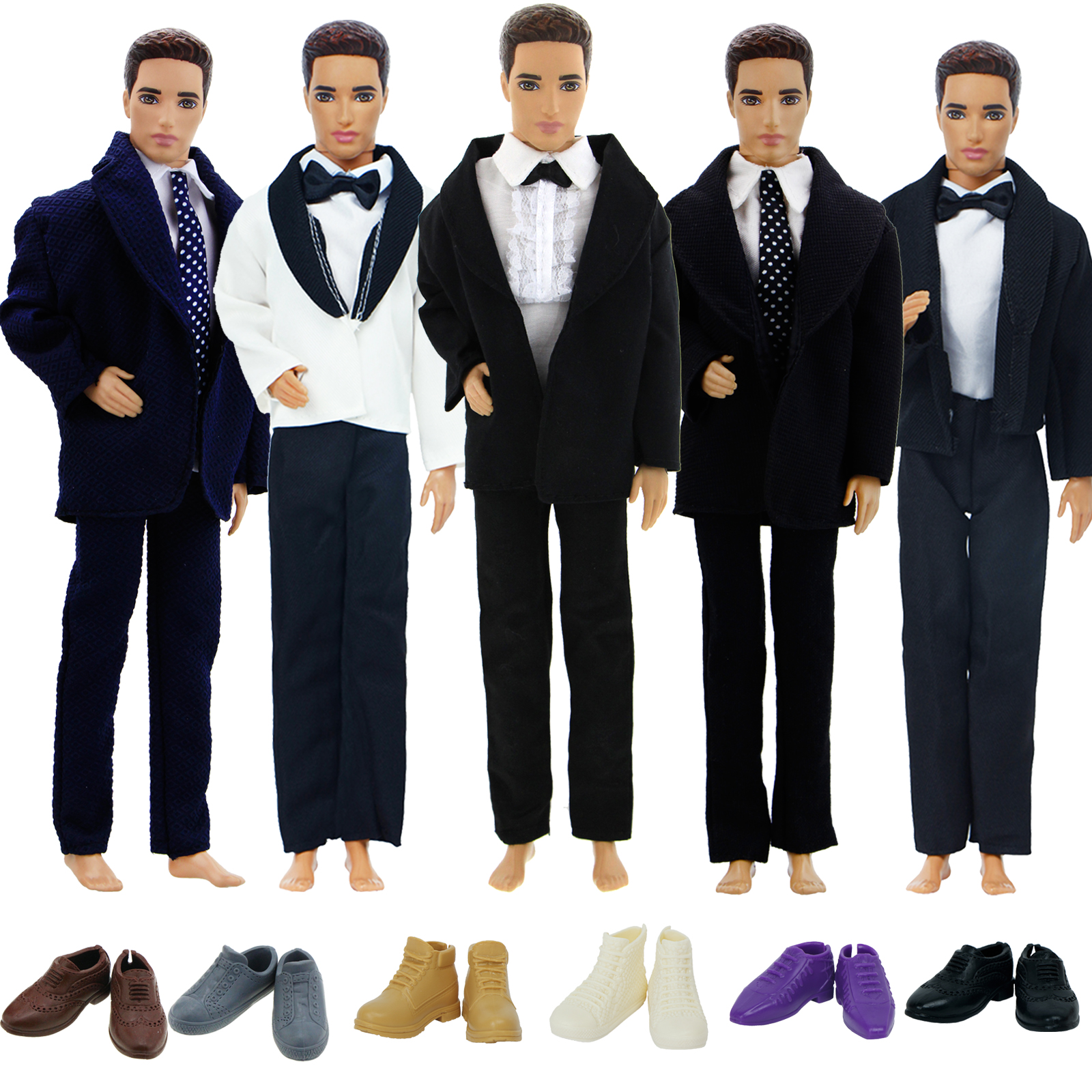 Handmade Men's Outfit For Barbie Doll Friend Ken Doll Wear Tuxedo Business Modern Suit Coat Shirt Shoes Clothes Accessories Toy