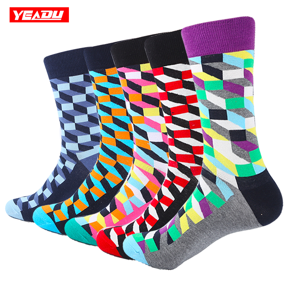 YEADU 5 Pair/Lot Mens Colorful Combed Cotton Socks New Color Blue Green Filled Optic Casual Dress Socks Mid Calf Crew Socks