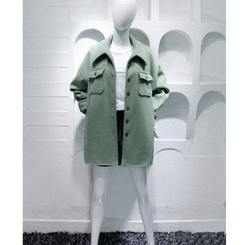Qpipsd 2018 spring / autumn women's jacket windbreaker female students wild jacket Bean green coat silhouette woolen coat