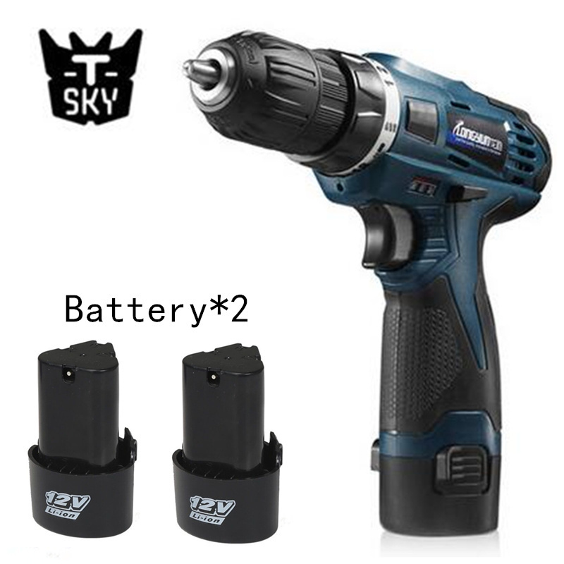 12V Electric Screwdriver Multi-function Cordless Charging Drill bit Rechargeable Battery*2 Parafusadeira Furadeira Power Tools new electric drill cordless screwdriver rechargeable battery electric screwdriver parafusadeira furadeira tenwa power tools
