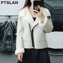 Ptslan 2017 Best Quality Genuine Real Shearling Coat Natural Sheepskin Coat Black Suede Women Winter Jacket