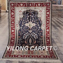 YILONG 3u0027x5u0027 Dark Blue Color Home Decoration Hand Made Silk Types Of  Persian Rugs (YHW341B3x5)