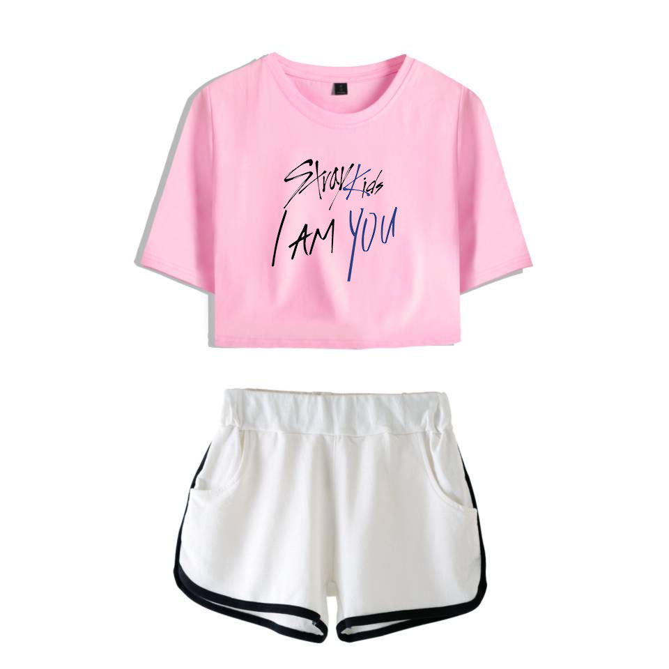 LUCKYFRIDAYF Fashion Stray Kids I Am You Cool Summer Shorts And T shirts Women Two Piece Sets Pop Crop Top Soft Sex Clothes in Women 39 s Sets from Women 39 s Clothing