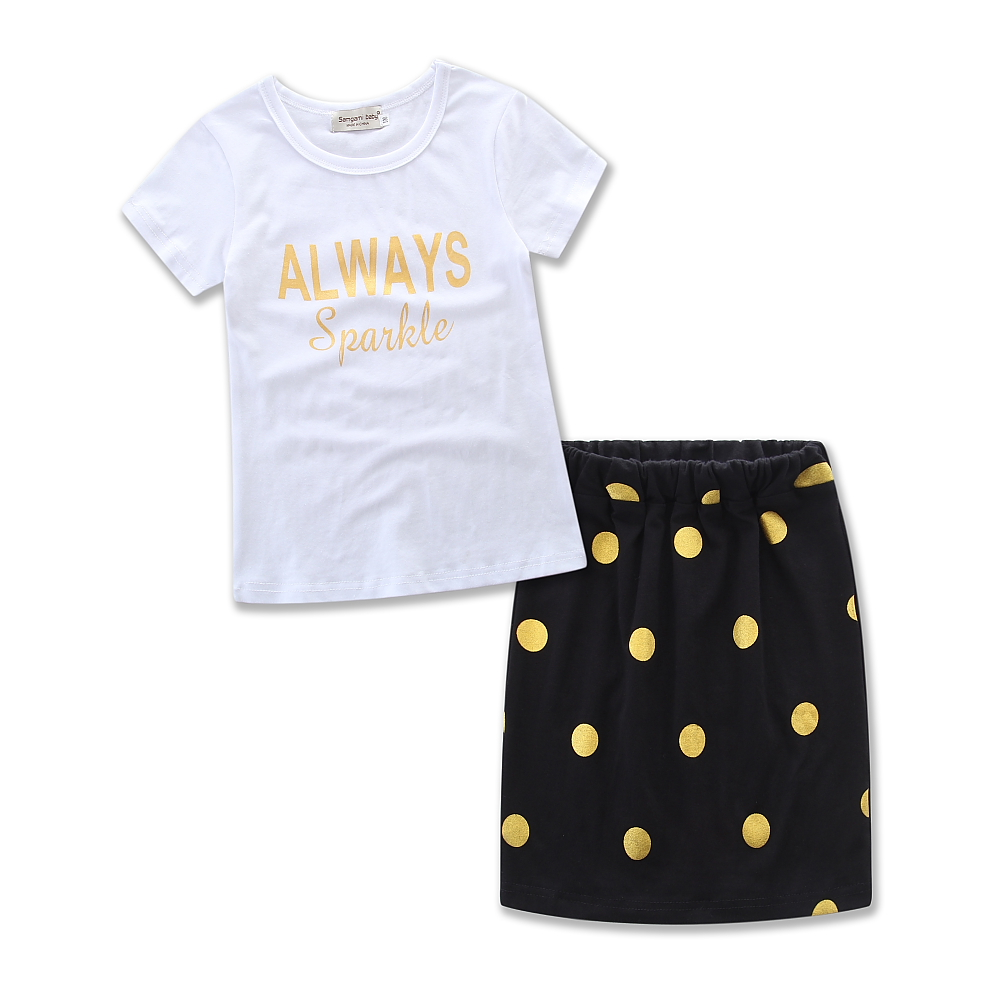 98a48b295e20 US $7.47 17% OFF|SAMGAMI BABY Parents and Children Outfit Letters Printing  Cotton T shirt+Polka Dot Pattern Tight Skirt Summer Mom And Kids Love-in ...