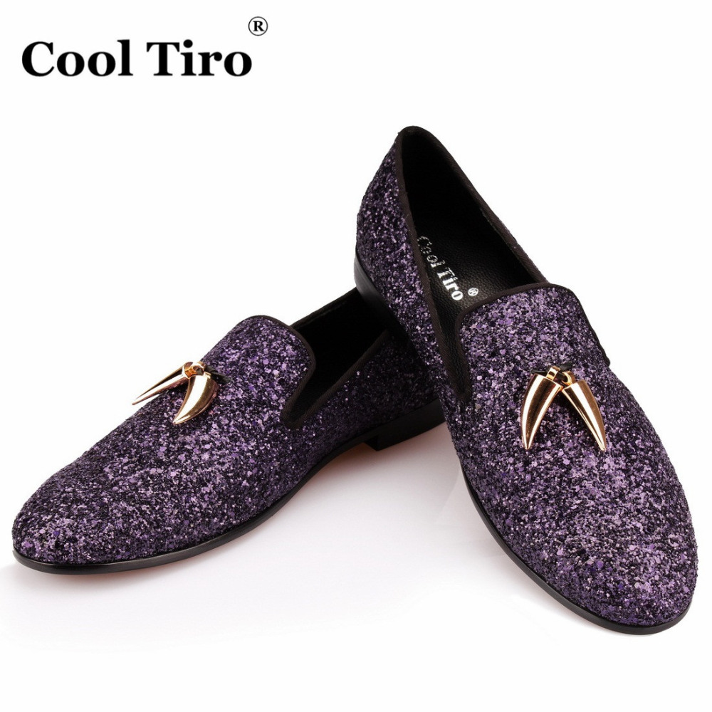 COOL TIRO Purple Glitter Loafers Men Shark teeth Smoking Slippers Men s Moccasins Prom Party Wedding