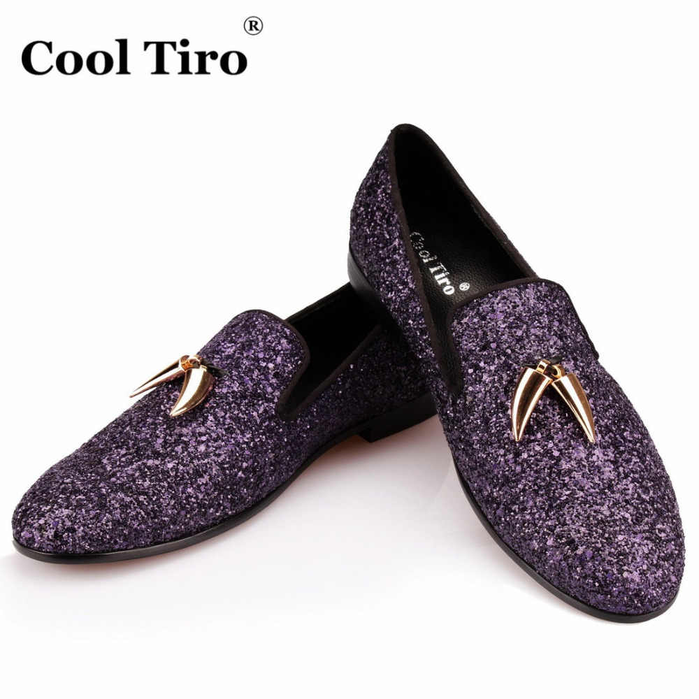 4db074febd6 Detail Feedback Questions about COOL TIRO Purple Glitter Loafers Men Shark  teeth Smoking Slippers Men s Moccasins Prom Party Wedding Dress Shoes  Casual ...