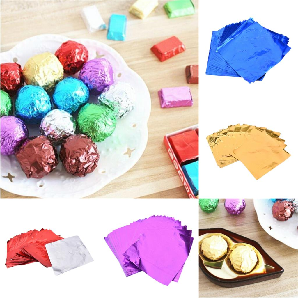 100pcs 8x8cm DIY Food Aluminum Foils Paper Chocolate Candy Packaging 4 Colors Party Birthday Wrapper Foil Paper Sticker