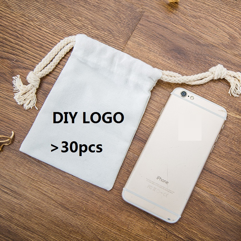 [4Y4A] 100pcs/lot DIY LOGO Simple Drawstring Bunches Small Bags Cotton Bags Luggage Bags Fabrics