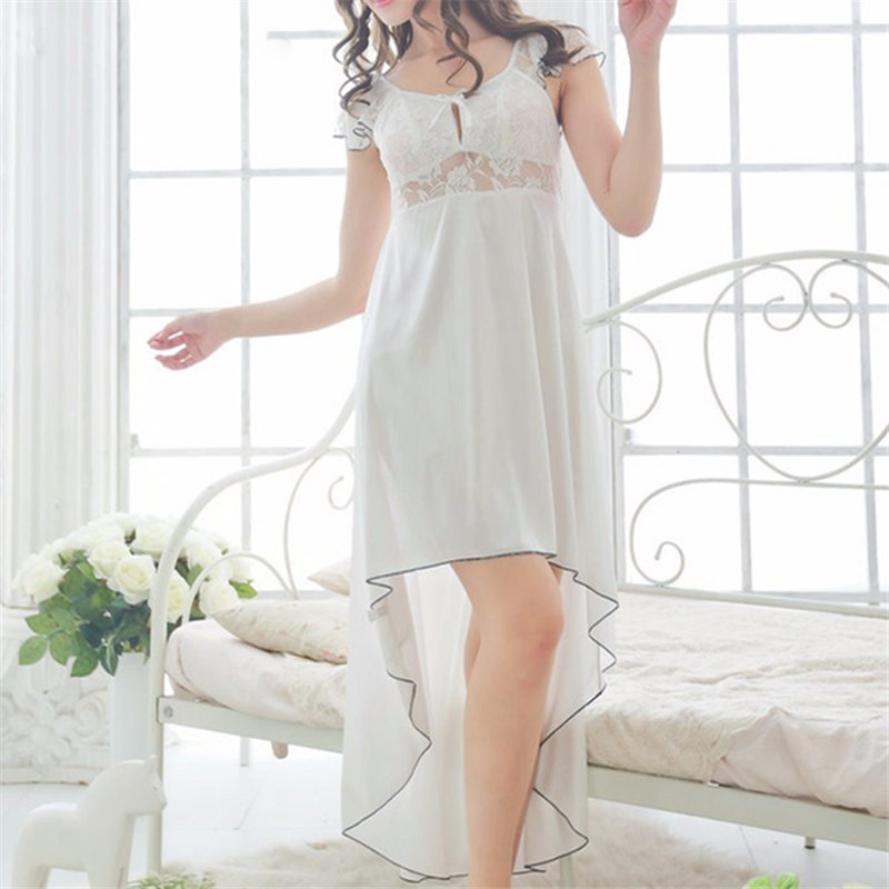 2018 Hot Summer Lace   Nightgowns     Sleepshirts   Solid Sleepwear Sexy   Nightgown   Female Soft Home Dress Vintage Cute