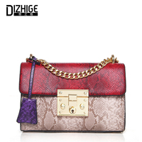 Famous Brand Desinger 2017 Ladies Samll Messenger Bags Women Serpentine Leather Shoulder Bag High Quality Chains