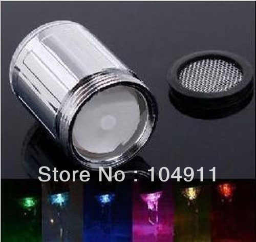 20pcs/lot High Quality Multicolor LED Water Glow Shower Light Faucet Tap Shower Sink  7 colors change Wholesale