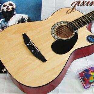 38 Inch Cutaway Acoustic Guitar Wood Color Classic Beginner Starter