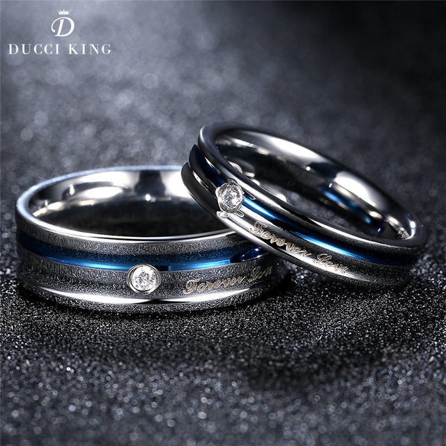 1 Pair Lovers Simple Couple Wedding Rings Blue Color Titanium Stainless Steel Jewelry Engagement Set For Women And Men