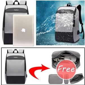 Image 2 - Men laptop backpack Anti theft backpack 15.6 Double USB large capacity backpacks waterproof bagpack men mochila hombre back pack