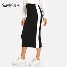 SweatyRocks negro de contraste Sideseam dividir a las mujeres falda lápiz  de longitud completa faldas elegantes faldas de Otoño . 34d04dc05c0e