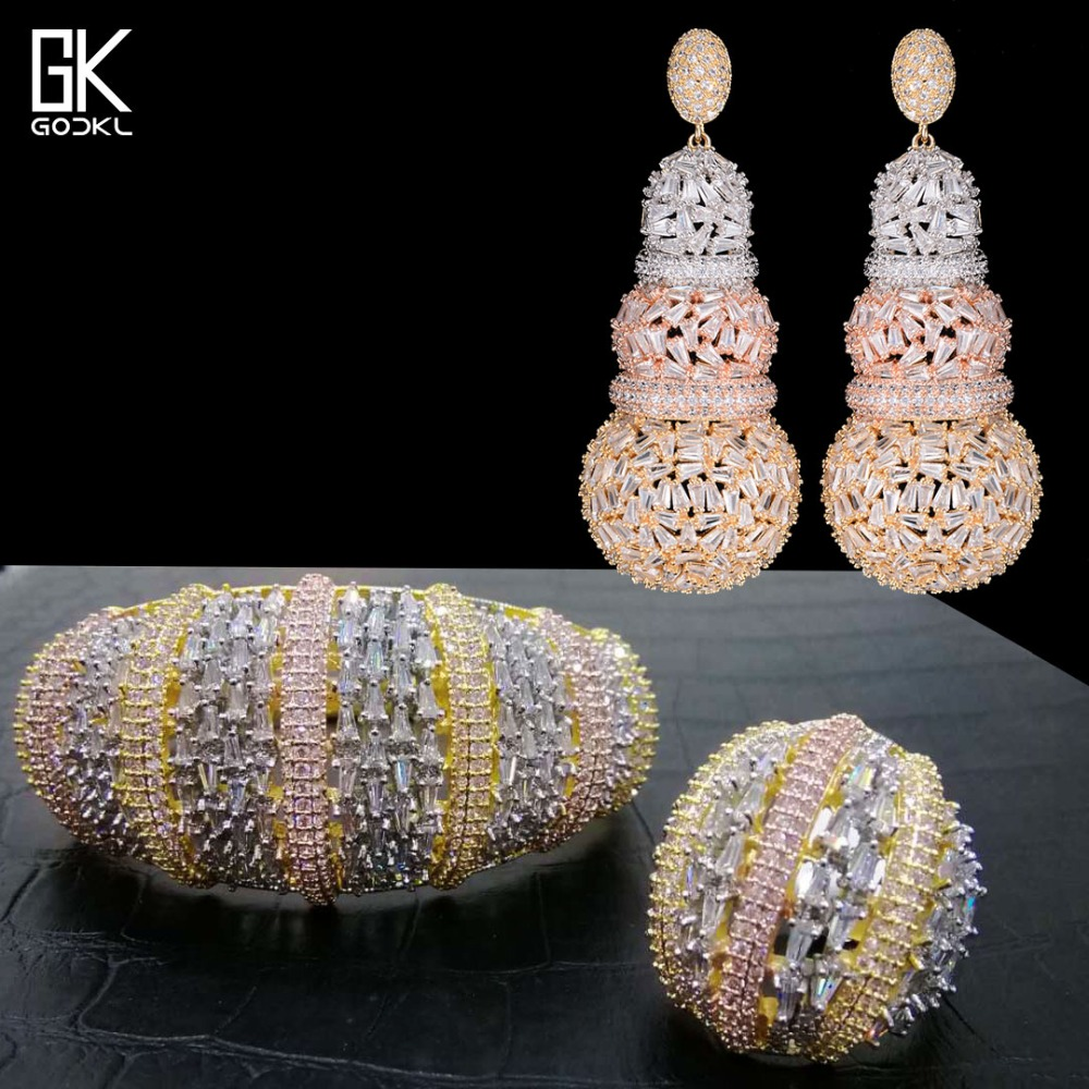 GODKI Luxury Cubic Zircon 3PC Jewelry Sets For Women Wedding Indian Bridal Earring Bangle Ring Set