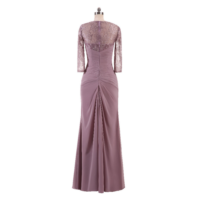 W.JOLI Long Evening Dress Elegant Lace Pleat Bride Banquet Floor-length Prom Gown lavender Purple Vintage Wedding Party Dress 7