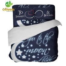Mode Brief Print Dekbedovertrek Moon Star Diepe Blauwe Beddengoed Set Koning Koningin Beddengoed Koppels kussen Quilt ropa de cama B25