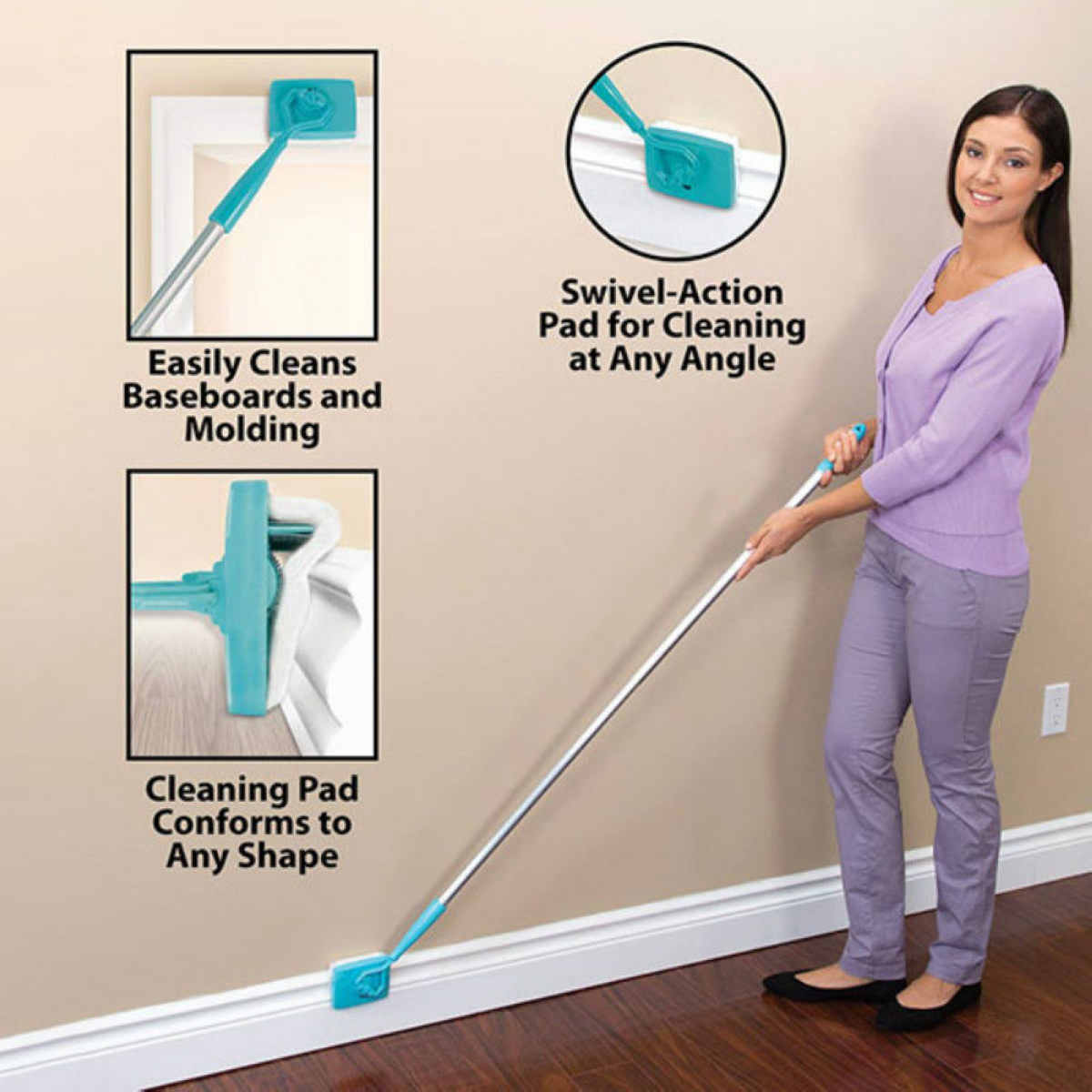 JX-LCLYL New Microfiber Baseboard Buddy Extendable Duster Cleaner Adjustable Household